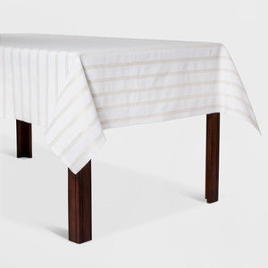 Ivory Tablecloth with Gold Stripes, 60x104""